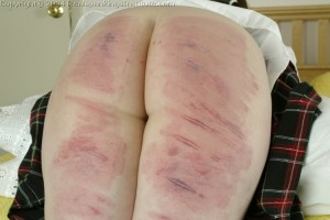 Lori learns the hard way what happens to her thighs when she will not hold still for her spanking