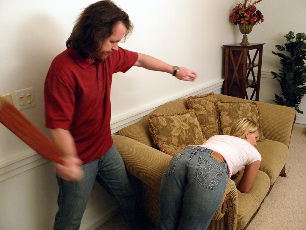 Wife jean spanked