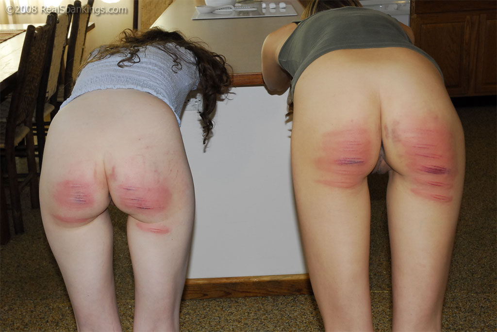 Caning women on bare ass