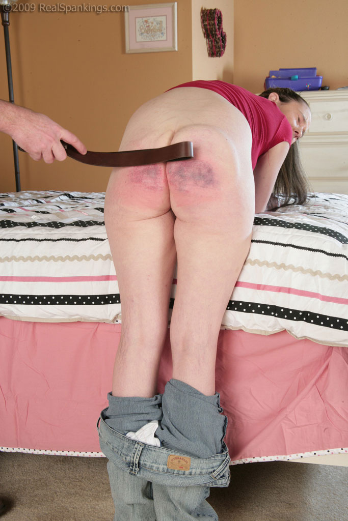 Bottom spanked bare girls getting